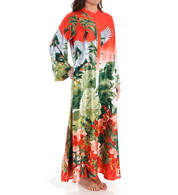 Natori Sleepwear Birds of Paradise Silky Charmeuse Zip Caftan