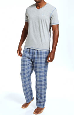 Nautica Pajama Set with V-Neck Tee and Flannel Pants