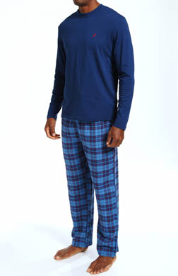 Nautica Pajama Set with Long Sleeve Crew and Flannel Pants