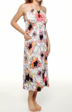 Nicole Miller Floral Mist Print Maxi Gown