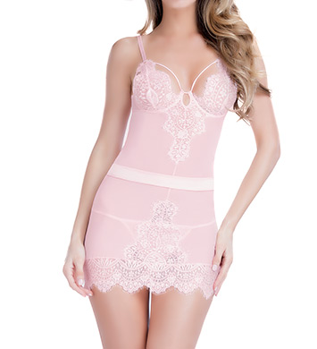 Oh La La Cheri Eyelash Lace Babydoll With G-String