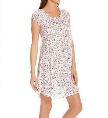 Oscar De La Renta Dots Luxe Knit Cap Sleeve Short Gown