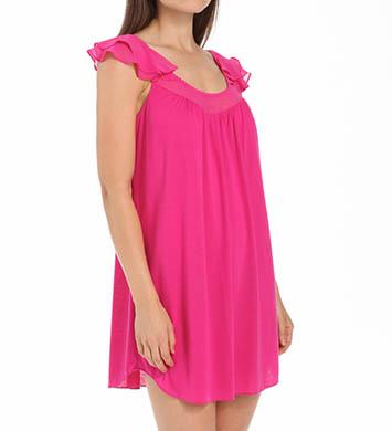 Oscar De La Renta Lipstick Cap Sleeve Short Gown