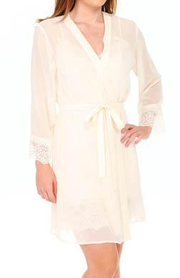 Oscar De La Renta Timeless Romance Solid Chiffon Short Robe