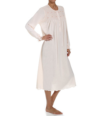 P-Jamas Flora Smocked Long Sleeve Nightgown