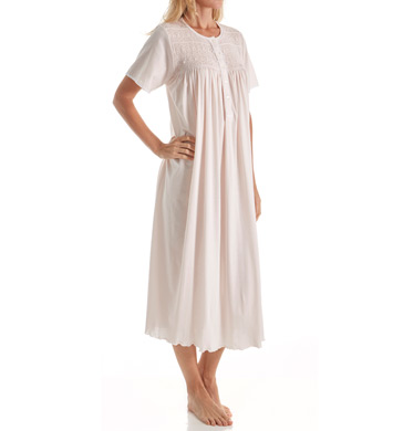 P-Jamas Ines Smocked Short Sleeve Nightgown