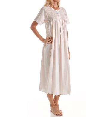 P-Jamas Ines Smocked Short Sleeve Nightgown