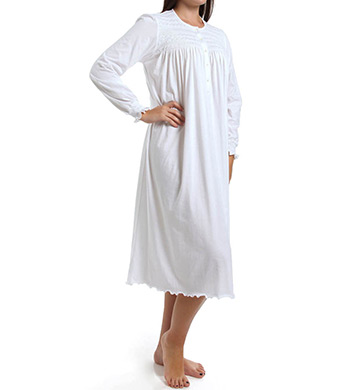 P-Jamas Isabel Smocked Long Sleeve Nightgown