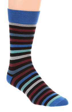 Pact All Over Navy Stripe Crew Sock