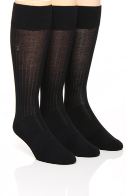 Polo Ralph Lauren Viscose Rib Crew Socks with Arch Support - 3 Pack