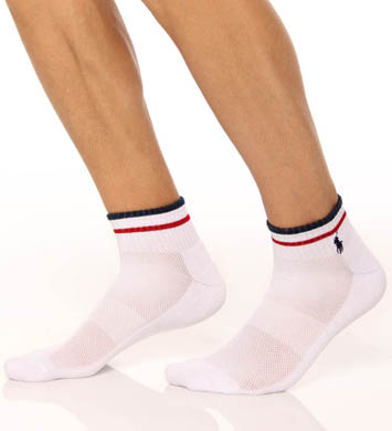 Polo Ralph Lauren Stripe Cuff Technical Quarter Top Socks - 3 Pack
