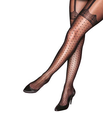 Pretty Polly Curves Plus Size Pretty Spotty Hold Up Tights