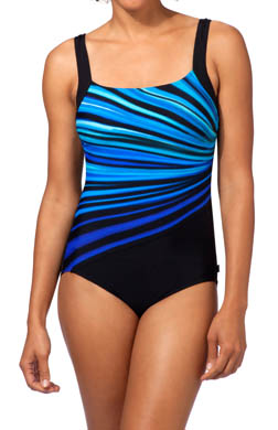 Reebok Vanishing Light Square Neck One Piece Swimsuit