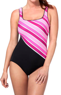 Reebok Stripe it Rich One Piece Swimsuit