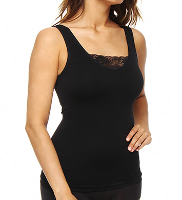 Rhonda Shear Ahh Cupid Seamless Shelf Tank with Lace Panel