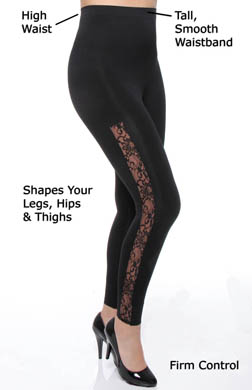 Rhonda Shear Ahh Ooh La La High Waist Lace Shaping Legging