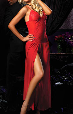 Seven 'til Midnight Moonlight Magic Mesh Long Gown with G-String