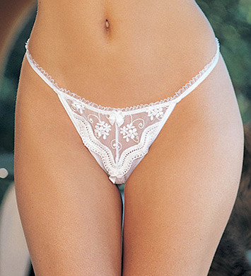Shirley of Hollywood Scalloped Embroidery Lace Crotchless Thong