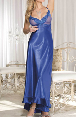 Shirley of Hollywood Charmeuse and Net Long Gown