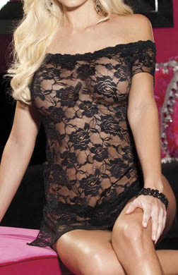 Shirley of Hollywood Stretch Lace Chemise And Thong