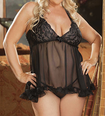Shirley of Hollywood Plus Size Stretch Lace & Chiffon Halter Baby Doll