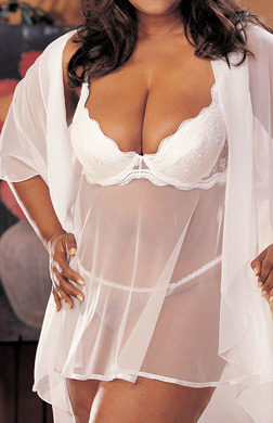 Shirley of Hollywood Plus Size Scalloped Embroidery Sheer Net Babydoll