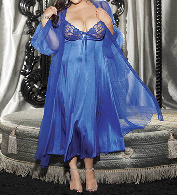 Shirley of Hollywood Plus Size 2 Piece Long Gown Peignoir Set