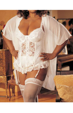 Shirley of Hollywood Satin Jacquard Plus Size Longline Bustier