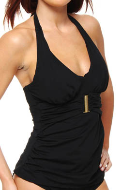 SPANX Belted Beauty Halter Tankini Swim Top