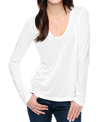 Splendid Very Light Jersey Long Sleeve V-Neck Tee