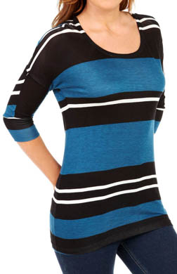 Splendid Tribeca Stripe Scoop Neck 3/4 Sleeve Tee