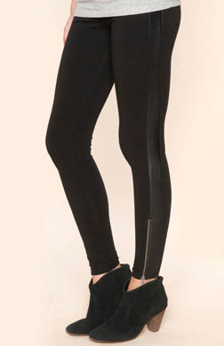 Splendid Novelty Leggings with Faux Leather Trim