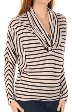 Splendid Black Venice Stripe Cowl Neck