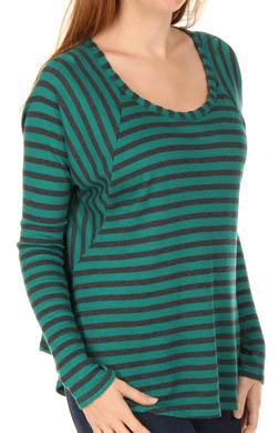 Splendid Charcoal Stripe Thermal Raglan Sleeve Tee