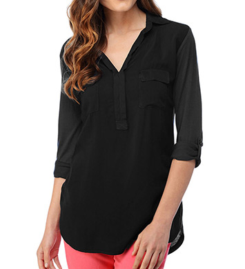Splendid Long Sleeve Flap Pocket Shirting Tee