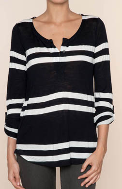 Splendid Soho Stripe Roll Sleeve Henley Tee