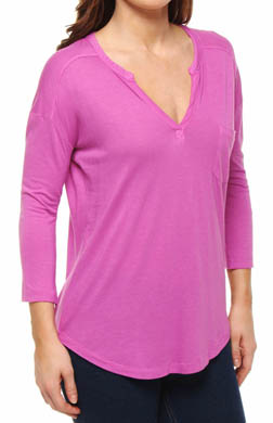 Splendid Very Light Jersey Split Neck 3/4 Sleeve Tee