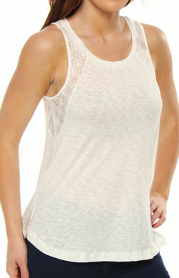 Splendid Lace and Slub Sleeveless Tee with Back Detail