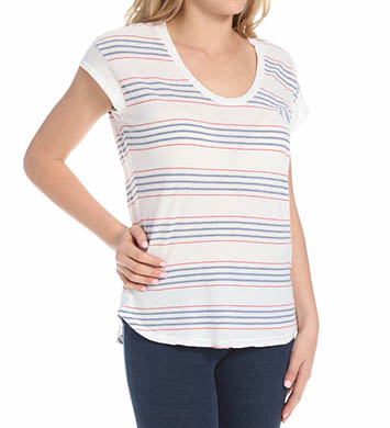 Splendid Pipeline Stripe Drop Shoulder Scoop Neck Tee