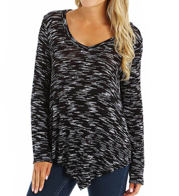 Splendid Carlow Loose Knit Asymmetrical V-Neck Tee