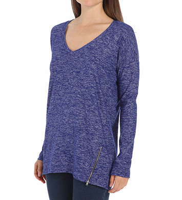 Splendid Spaced Dyed Jersey Long Sleeve V-Neck Tee