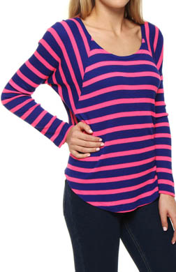 Splendid Neon Pop Thermal Raglan Sleeve Open Neck Tee