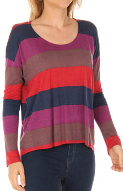 Splendid Color Block Rugby Long Sleeve Tee