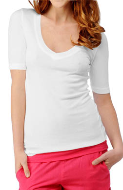 Splendid 1X1 Ribbed V-Neck Elbow Sleeve Tee