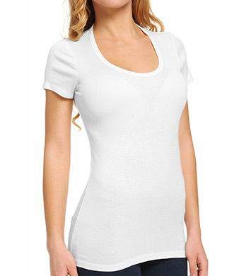 Splendid Jersey 1x1 Ribbed Short Sleeve Scoop Neck Tee