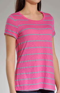 Splendid Chambray Mixed Stripe Short Sleeve Boat Neck Top