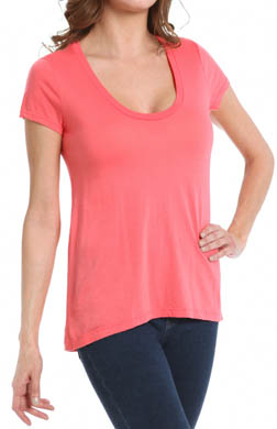 Splendid Very Light Jersey Short Sleeve Scoop Neck Tee