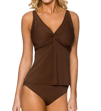 Sunsets Solid Underwire Twist Tankini Swim Top