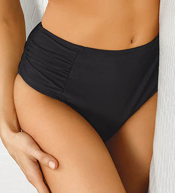 Sunsets Black Shirred High Waist Swim Bottom
