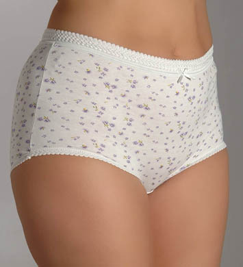 Teri Soft Floral Print Full Cut Brief Panties - 6 Pack
